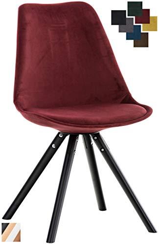 CLP Besucherstuhl Pegleg Mit Samtbezug I Gepolsterter Schalenstuhl Mit Runden Holzbeinen I Sitzhöhe: 46 cm Rot, schwarz