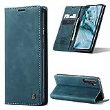 AKC Handyhülle Kompatibel mit One Plus Nord Hülle Standfunktion Fallschutz-Technologie Schutzhülle Cover Echtleder Brieftasche-Blau