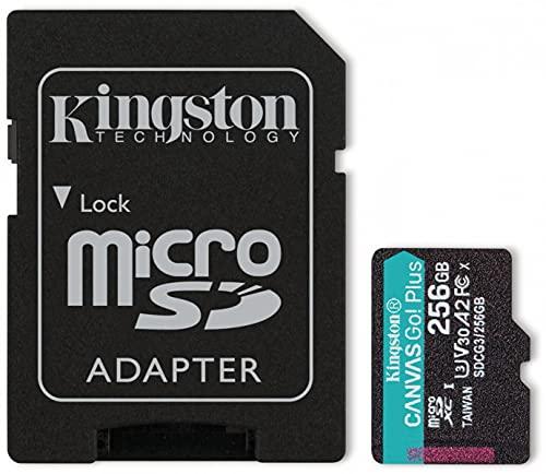 Kingston SDCG3/256GB Scheda di Memoria microSD, 256GB microSDXC Canvas Go Plus 170R A2 U3 V30, Adattatore SD Incluso