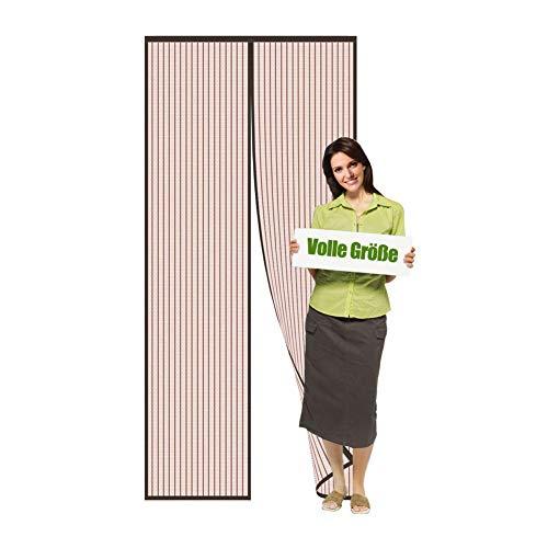 Flei Mosquitera magnética para puerta, protección contra insectos, cortina mosquitera magnética para coche, plegable, para puertas/patios, marrón, 125 x 225 cm