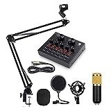 LLSS Kit de micrófono USB, Enchufe y Juego BM-800 Mic Kit, con Tarjeta de Sonido en Vivo,Soporte de Choque metálico, micrófono Adecuado para transmisión, grabación de música, Juegos, Youtube