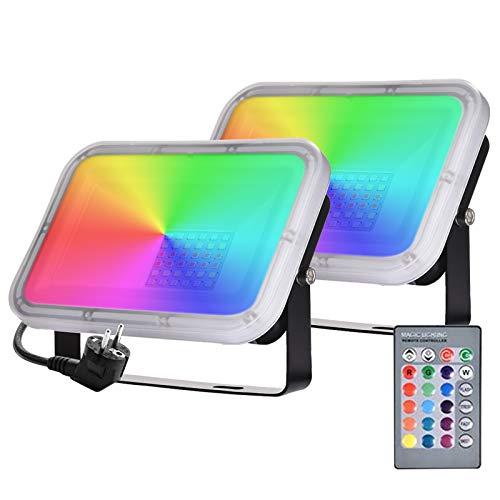 Papasbox RGB 30W LED Strahler Mit Fernbedienung Farbwechsel 2er 16 Farben 4 Modi LED Fluter Bunt Flutlichtstrahler, IP65 Wasserdicht Scheinwerfer Dimmbar mit Speicherfunktion für Gärten Party