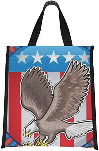 Cooler Bag Grocery American Independent Day Symbol Eagle Lunch Bag Tote Lunch Bag Refrigerador reutilizable, plegable Mantiene la comida caliente / fría para mujeres, hombres, escuela, ofici