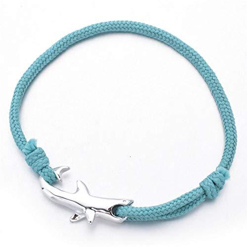 DDSCB Braided Rope Bracelets,Vintage Rope Bracelet Blue Fashion Ocean Anchor Silver Shark Bracelet Bohemian Classic Charm Friendship Bracelet Handmade Adjustable Wristband For Women Men Jewelry Gift