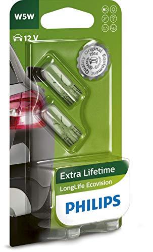Philips 12961LLECOB2 LongLife EcoVision W5W Signallampe 12961LLECOB2, 2er Blister