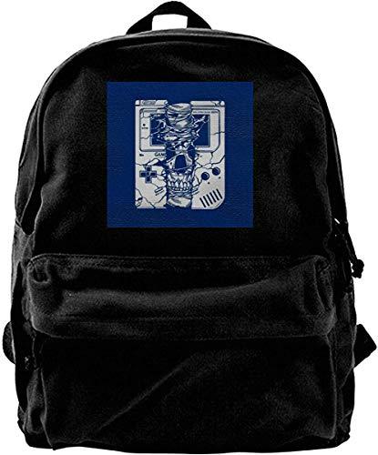 Yuanmeiju Leinwand Rucksack Gameboy Schädel Rucksack Fitnessstudio Wandern Laptop Umhängetasche Daypack für Männer Frauen