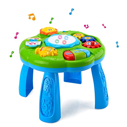 HANMUN Musical Learning Table Baby Toy - Electronic Education Toys for Toddlers Early Development Activity Toy (Green, Learn Baby Activity Table Sound Toy for Babies & Infant 6, 12 Months+