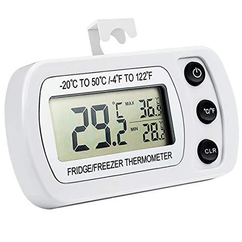 Derclive - Termómetro digital para frigorífico o congelador (resistente al agua, pantalla LCD), color blanco