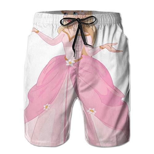 Men's Sports Beach Shorts Board Shorts,Pink Dressed Princess with Her Bird Animal Love Teenage Girl Theme,Surfing Swimming Trunks Bathing Suits Swimwear