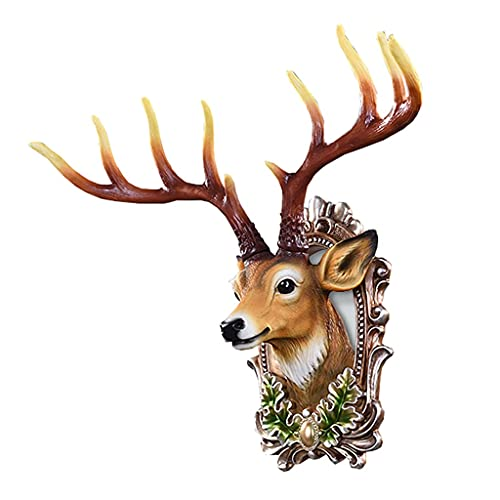 MNYHJDS Deer Head Wall Hanging Retro Bar Decorations Resin Deer Head Not Easy to Fade and Damage for Wall Mount Decoration Animal Head J (Color : BROWN, Size : 62 * 57CM)