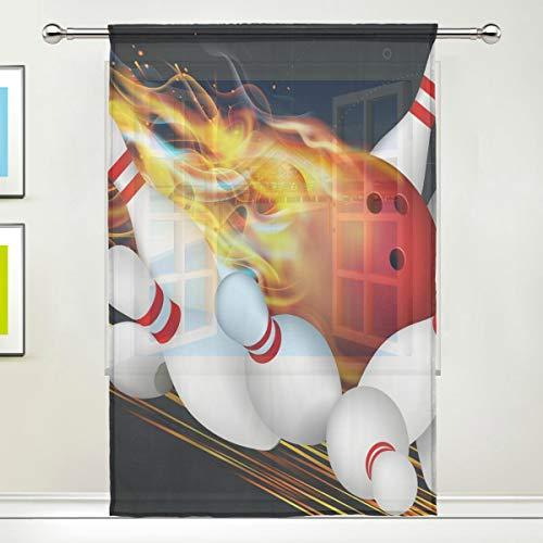 Fenstervorhang für Hauptschlafzimmer Wohnzimmer Dekor Retro Tüll Vorhänge Drucken Semi Sheer Sport Bowling Flame Sheer Vorhang
