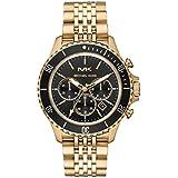 Michael Kors Men's Bayville Quartz Watch with Stainless Steel Strap, Gold, 22 (Model: MK8726)