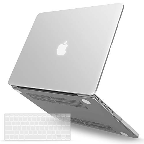 IBENZER MacBook Pro 13 Inch Case 2015 2014 2013 end 2012 A1502 A1425, Hard Shell Case with Keyboard Cover for Old Version Apple Mac Pro Retina 13, Clear, R13CL+1