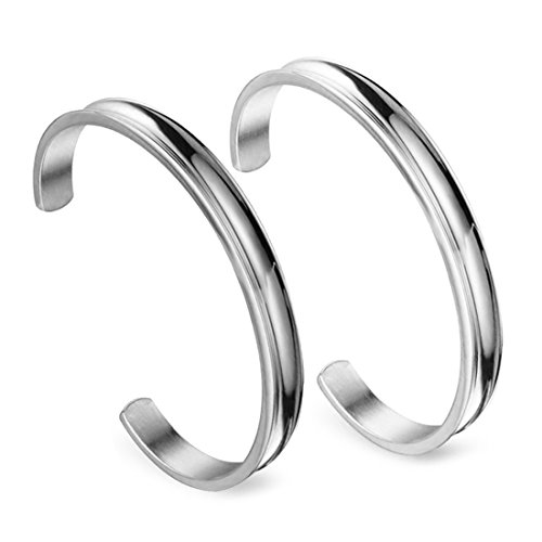 Zuo Bao Hair Tie Bracelet Stainless Steel Grooved Cuff Bangle for Women Girls (2 Pcs Silver)