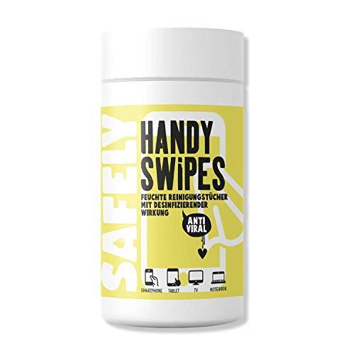 My Safely Toallitas desinfectantes Handy Swipes I 100 limpiadores de pantalla de 13 x 9,5 cm I Toallitas para pantalla táctil y smartphone sin alcohol para superficies sensibles I Caja dispensadora