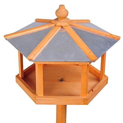PawHut D3-0006 Vogel/Futterhaus Kanarien Holz mit Ständer und Zinkdach Wasserdicht, natur - 5