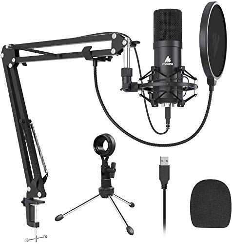 USB Microphone MAONO AU-A04 Plus Cardioid Condenser Podcast Mic 192kHz/24bit Plug and Play, Provide Two Mic Holders for Livestreaming, Voice Over, YouTube, Gaming, ASMR