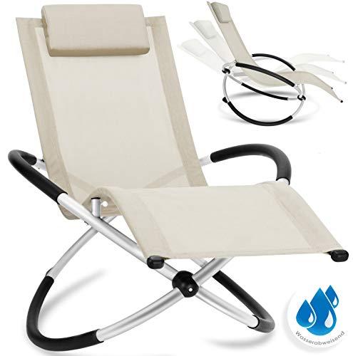 Kesser® Relaxliege Liegestuhl | Gartenliege Sonnenliege | Gartenstuhl | Klappstuhl faltbar | Schwungliege | Schaukelsessel | ergonomische Relaxsessel | wetterfest | 180 kg Belastung | Beige