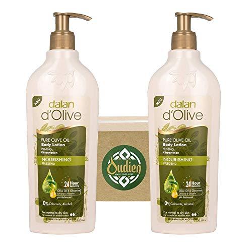 OUDIEN 2er Set dalan d\'olive Pflegecreme, Bodylotion mit reinem Olivenöl, Feuchtigkeitscreme für Gesicht, Körper und Hände 2x400ml