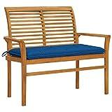 Gartenbank mit Blauer Auflage 112 cm Massivholz Teak