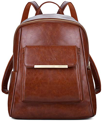 Leather Backpack, COOFIT Women Backpack Leather Rucksack Ladies Backpack for Women Rucksack Leather School Bag Daypack for Girls Casual Daypack Satchel
