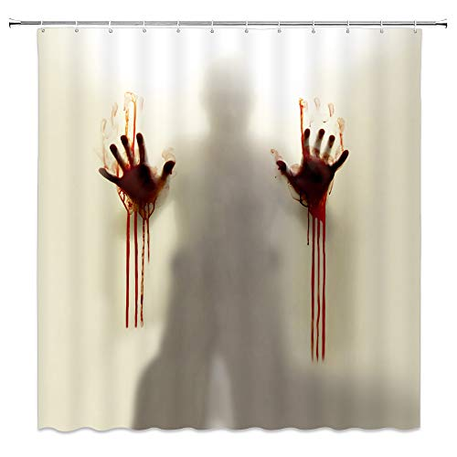 Lileihao Halloween Shower Curtains Bloody Handprint Fuzzy Silhouette Help Me Scary Bathroom Decor Waterproof Polyester Home Decor Accessories Curtain Set 69 x 70 Inch Includes Hooks