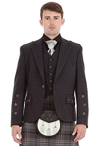 Kilt Society Herren Schottische graue Braemar Tweed Kilt Jacke und Weste (EU 62 Regular)