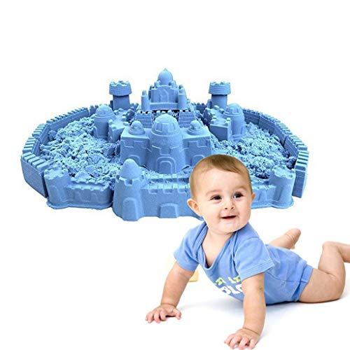 Magia Arena Juguetes para Niños (2 Kg), El Juego para Móvil De La Arena con 75 Moldes Y Mesa De Arena, Creatividad Caja De Almacenamiento para Ejercitar La Imaginación De Los Niños Y,Azul,2Kg
