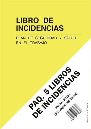 PAQ. 5 LIBROS DE INCIDENCIAS. Plan de Seguridad y Salud en el Trabajo. A4, 25 folios duplicados y numerados.