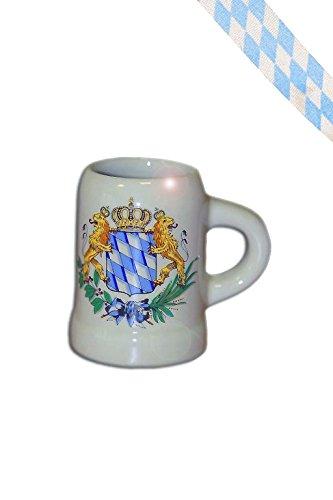 Bavariashop Mini Maßkrug mit bayerischer Rauten Fahne, Mit Band, 4 cl Bierkrug, Schnaps Krug