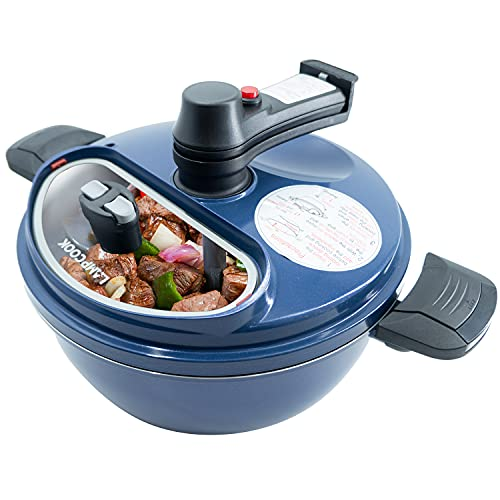 LAMPCOOK Automatic Pots Stirrer for Cooking [HAND FREE COOKING POT] Non-Stick Frying Saucepan, Rotating Blade, Oil Drain, Easy Clean, Cordless, Pot Lid With On and OFF Glass.