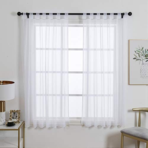 ZebraSmile 1 Panel Tab Top Sheer Curtain Loop Drapery Window Treatment Curtain for Girls Room Transparent Drape Voile Drapery White 57(H) X55(W) in