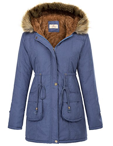 GRACE KARIN Women's Hooded Warm Winter Coats Parkas Outwear Jacket L Navy Blue