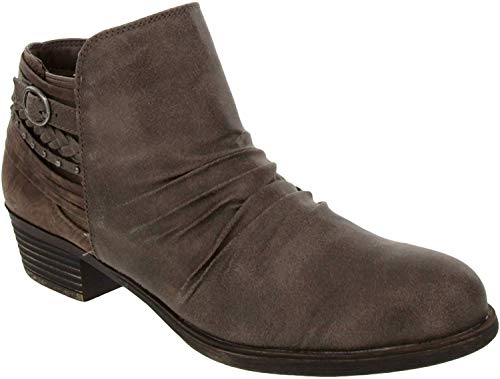 Rampage Booties for Women - Womens Ankle Boots with Block Heel, Ladies Side Zip Booties & Ankle Boots with Buckle and Braided Wraparound Detail | Tyra