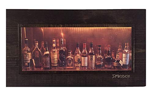 Bourbon Bottles Panorama on Wood Unique Wall Art