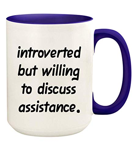 Introverted But Willing To Discuss Assistance - 15oz Ceramic White Coffee Mug Cup, Deep Purple