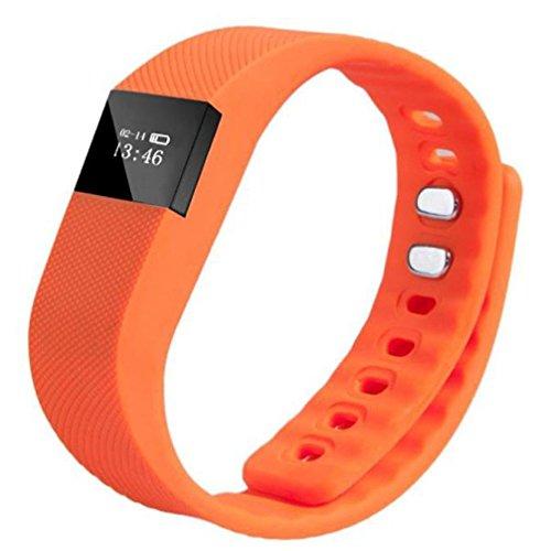 Bluetooth Smart Handgelenk Band–Sleep Sports Fitness Activity Tracker Schrittzähler–Armband Smart Watch tw64kompatibel mit Android iOS Smart Phone, Orange