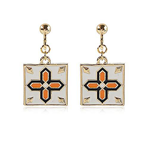 Ohrringe Quadratische Ohrringe Silber Haken Ohrringe Retro Quadratische Kreuz Fliesen Ohrringe