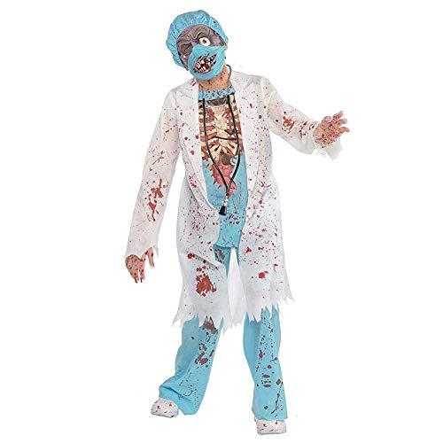 Yw-Cosplay Children's Zombie School Jongen Kostuum M.D. Chirurg Medisch Dokter Scrubs Masker Halloween Gory Bloed Splattered Feestkleding Kostuum, 4-6 Jaar