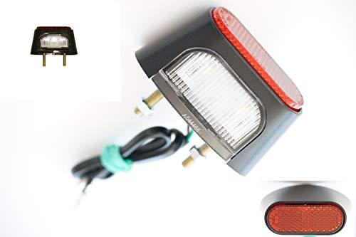 1x Universal LED Kennzeichenbeleuchtung 6000KE-geprüft /// Mit Rückstrahler Reflektor Rot Für Motorrad Quad Custom-Bike Streetfighter KFZ Auto ATV Trike Anhänger Straßenmotorrad Reiseenduro