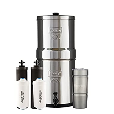 Boroux BIG Berkey Water Filter System with 2 Black Purifier Filters (2 Gallons) Bundled with 1 set of Fluoride (PF2) Filters and 1 Double Walled 20 oz Stainless Steel Tumbler Cup