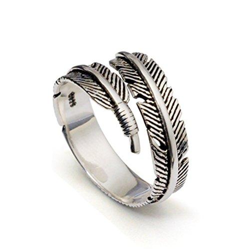 Anillo con forma de pluma de Nowbetter con diseño de apertura ajustable, anillo de dedo para boda, compromiso, pulgar, joyas, accesorios, regalo para mujeres y amigas (plata antigua)
