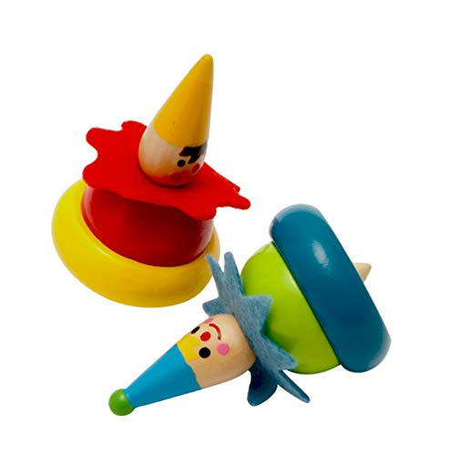 Toyvian 2 Stück Holz Kreisel Flip Tops Spielzeug Clown Gemalt Kindergarten Bildung Spielzeug für Kinder