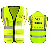 High Visibility Safety Vest Custom Your Logo Protective Workwear 5 Pockets With Reflective Strips Outdoor Work Vest (Neon Yellow (L))