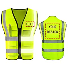 High Visibility Reflective Safety Vest is available for custom your own design picture or text. MATERIALS: UNISEX, 100% Polyester H-Vis Reflective Material, Durable, Breathable, Lightweight . Safety vest is high visibility with two-inch wide reflecti...