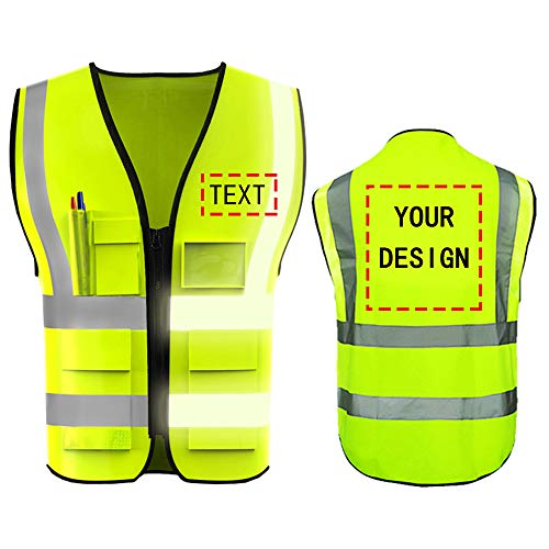 High Visibility Reflective Safety Vest Customize Logo With 5 Pockets Protective Workwear Outdoor Work Vest (M, Neon Yellow)