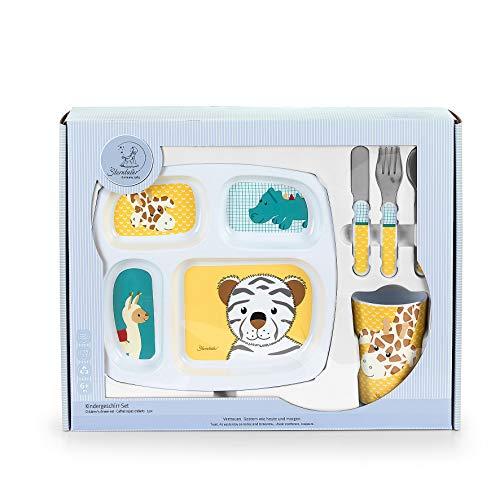 Sterntaler Coffret vaisselle Zoo Cà¢lin, assiette, Tasse, cuillère, fourchette, couteau, à'ge : à partir de 6 mois, Jaune/Vert