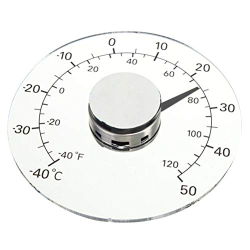 Hihey Außenthermometer Fahrenheit Celsius Grad transparentes rundes Fenster batterieloses selbstklebendes wasserdichtes Heimthermometer für Tür Fenster