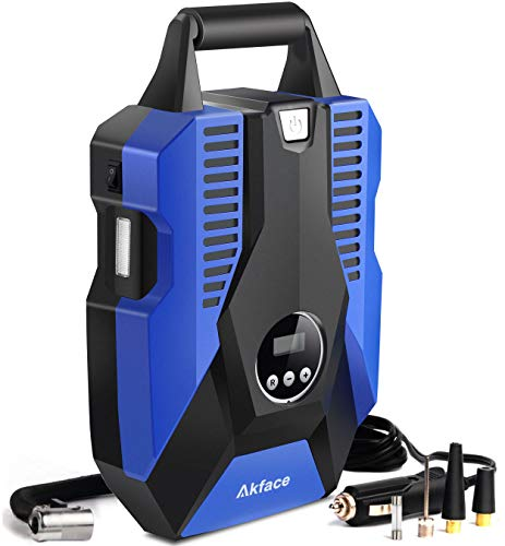 akface DC 12V Portable Air Compressor Pump for Car, Bicycle,...