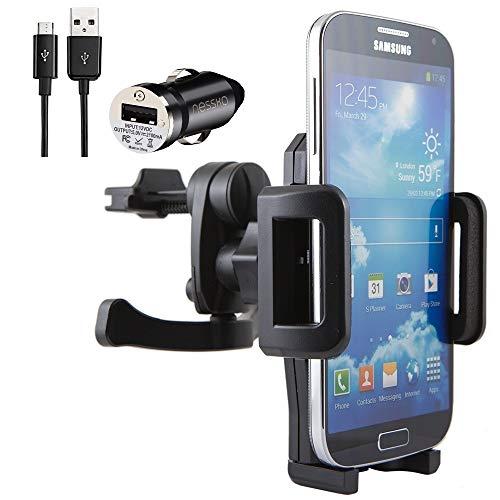 NessKa® Premium auto mobiele telefoon ventilatie houder met laadfunctie / oplader Micro USB-oplaadkabel + auto-adapter voor Samsung Galaxy S7 S6 Edge S5 Neo S4 S3 Mini A3 A5 A7 J1 J3 J5 J7 Note 1 2 3 4 5
